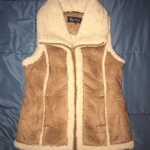 Faux Suede & Sherpa Zip-up Vest